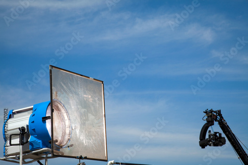 Canvas Print Image of a jib camera or camera crane with sky background