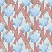 Polygon Tulips Seamless Patter...