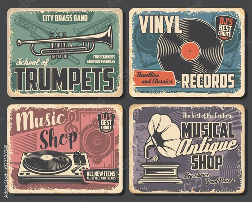 Fototapeta Trumpet and trombone vector brass music instruments, vinyl records and players, musical notes, loudspeaker, vintage gramophone and treble clef. Brass music school and musical shop retro posters design obraz