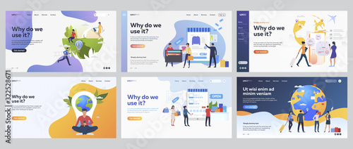 Obraz Internet purchases set. Customers buying online, booking flight, travelling. Flat vector illustrations. Commerce, application concept for banner, website design or landing web page - fototapety do salonu