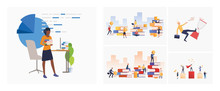 Set Of Students Studying Business For Money. Flat Vector Illustrations Of People Achieving Career Success. Business And Time Management Concept For Banner, Website Design Or Landing Web Page