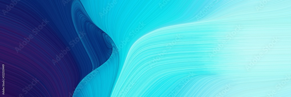 Fototapeta moving designed horizontal banner with baby blue, midnight blue and dark turquoise colors. dynamic curved lines with fluid flowing waves and curves