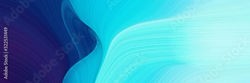 moving designed horizontal banner with baby blue, midnight blue and dark turquoise colors. dynamic curved lines with fluid flowing waves and curves
