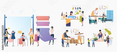 Fototapeta Handicraft industry set. Tailor, carpenter, florist at work. Flat vector illustrations. Occupation, job concept for banner, website design or landing web page obraz