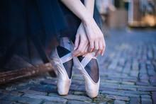 Closeup Of Ballerina's Feet In...