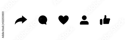 Social media icons thumb up and heart icon with repost and comment. Flat signs icons on white background. Vector