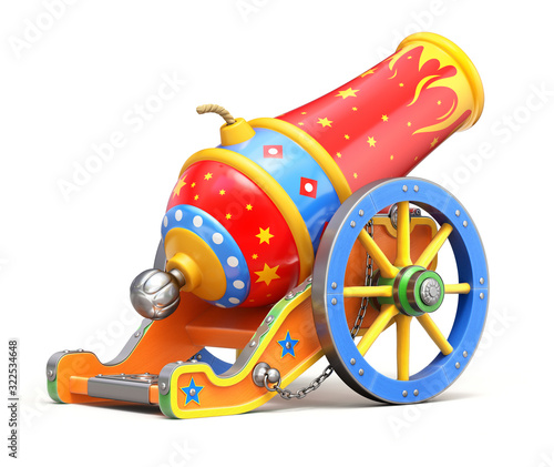 Foto Back view of ancient circus cannon on white background - 3D illustration
