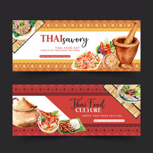 Thai Food Banner Design With Papaya Salad, Tom Yum Soup Illustration Watercolor.