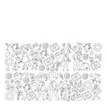 Vector Pattern With Travel And Beach Icons. Parents With Little Kids. Children Summer Vacation.