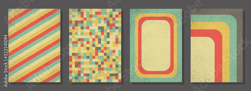 Fototapeta Set of retro covers. Cover templates in vintage design. Abstract vector background template for your design. Retro design templates set for brochures, posters, flyers, banners, covers, placards. obraz
