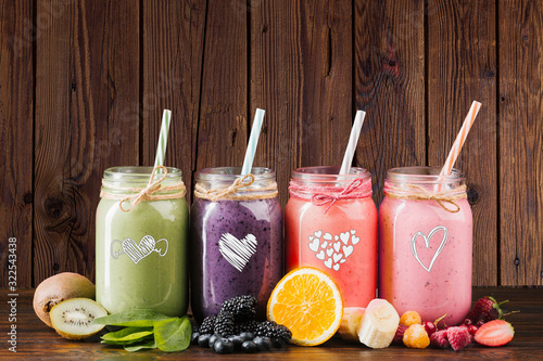 Natural protein shake. Raw blend beverage.Healthy nutrition homemade blend. Refreshing assorted drinks.