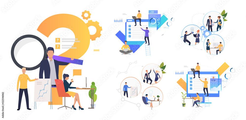 Fototapeta Collaboration on project set. Business partners working together. Flat vector illustrations. Business, teamwork concept for banner, website design or landing web page