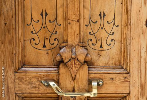 Fotografija refined inlaid wood door, in luxury classic style