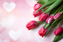 Red Tulips With Heart Symbol P...
