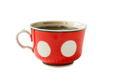 Red Tea Cup With Polka Dot Pat...