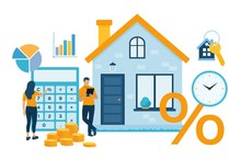 Mortgage Concept. House Loan Or Money Investment To Real Estate. Property Money Investment Contract. Buying Home. Man And Woman Calculates Home Mortgage Rate. Vector Illustration With Characters.