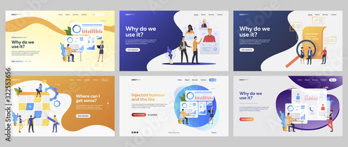 Obraz Business processes set. Managers selecting staff, presenting reports, charts, agreement. Flat vector illustrations. Management, strategy concept for banner, website design or landing web page - fototapety do salonu