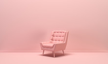 Single Isolated Armchair In Flat Monochrome Pink Color Background, Single Color Composition, 3d Rendering