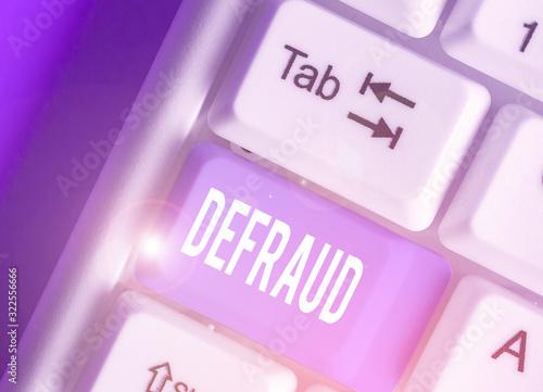Fényképezés Writing note showing Defraud
