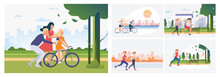 Set Of Roller Skaters. Flat Vector Illustrations Of Girls And Women Roller Skating In City And Riding Bicycle. Active Lifestyle, Activity, Summer Concept For Banner, Website Design Or Landing Web Page