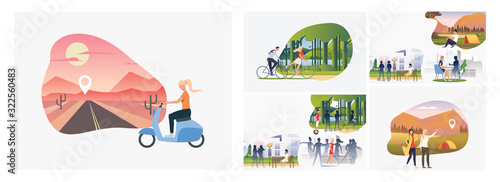 Obraz Set of young people enjoying active leisure. Flat vector illustrations of people finding locations and resting in park. Recreation, hiking concept for banner, website design or landing web page - fototapety do salonu