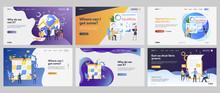 Planning And Management Set. Business Leaders Presenting Charts, Closing Deal, Kanban Board. Flat Vector Illustrations. Finance, Marketing Concept For Banner, Website Design Or Landing Web Page