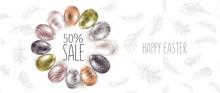 Easter Eggs. Sale. Happy Easte...