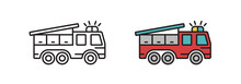 Fire Truck Icon In The Vector. Transport Symbol In A Modern Flat Style. The Sign Is Linear, Isolated On A White Background.