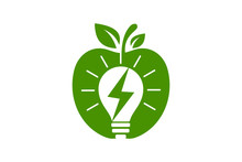 Apple And Electricity Logo Sig...