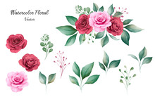 Set Of Watercolor Floral Elements Vector Of Peach And Burgundy Rose Flowers And Leaves With Bouquet. Romantic Botanic Illustration For Wedding, Greeting, And Valentine Card Design Vector