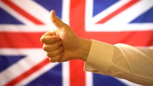Male Hand Show Thumb Up On UK ...