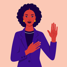African Woman Swears An Oath. Happy Girl  Makes Sincere Promise, Keeps One Hand On Heart, Raises Palm, Demonstrates Loyalty Gesture Being Honest. Vector Flat Illustration
