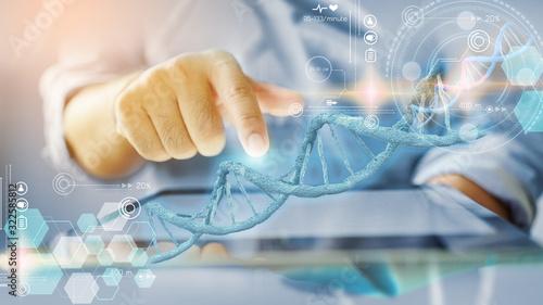 Fotografia DNA structure interface. medical technology