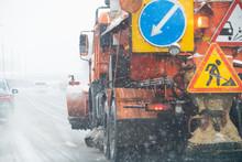 Snowplow Truck Removes Snow On...