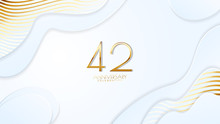 42nd Anniversary Celebration. Golden Number With Realistic Fluid White Background. Realistic 3D Sign Modern Elegant Can Be Used For A Company Or Wedding. Editable Design Vector EPS 10.