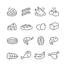 Food Related Icons: Thin Vector Icon Set, Black And White Kit