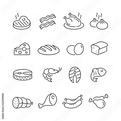 Fototapeta Food related icons: thin vector icon set, black and white kit obraz