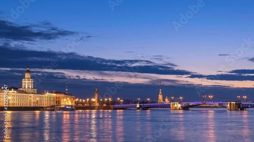 Fotografie, Obraz Saint Petersburg Russia time lapse 4K, city skyline night timelapse at Palace Br