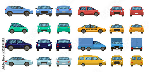 Car views. Front and profile side car view, urban traffic transport of different views. Auto transport vector isolated set. Motor vehicles top, back and front. pickup, suv and hatchback, taxi sedan