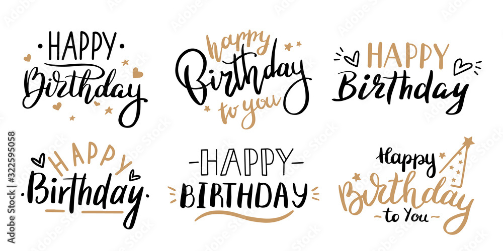 Fototapeta Happy birthday celebration concept. Greeting birthday party lettering with celebration hand drawn elements, decorative invitation card vector set. anniversary black and gold handwritten inscription