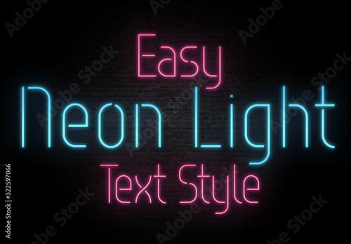 Fototapeta Basic Neon Light Text Style Mockup obraz