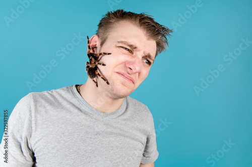Photo The man is disgusted by the fact that a large spider crawls across his face