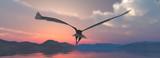 Fototapeta Fototapety z naturą - Eagle flying flush with water