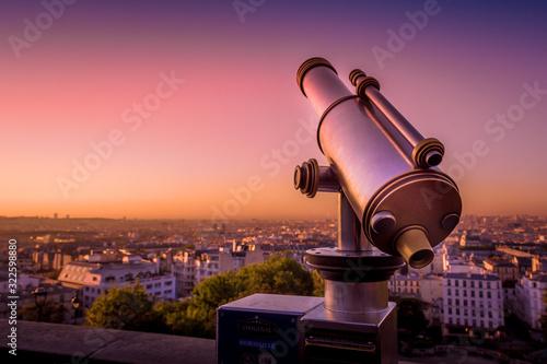 Fototapeta telescope and view of paris obraz