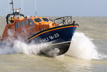 Eastbourne, UK. February 11th 2020: Eastbourne RNLI Lifeboat Rises Out Of The Water.