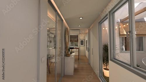 Fotografie, Obraz HALL RECIBIDOR 3D CASA CON PATIO . RENDER 3D