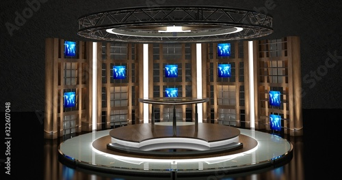 Tv Studio Chat Set 1 3d Rendering This Background Was Created In High Resolution With 3ds Max Vray Software You Can Use It In Your Virtual Studios Buy This Stock Illustration And