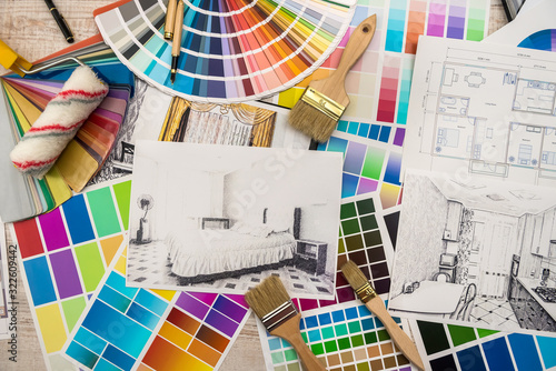 Interior design concept - apartment sketch with color palette and tools. - 322609442