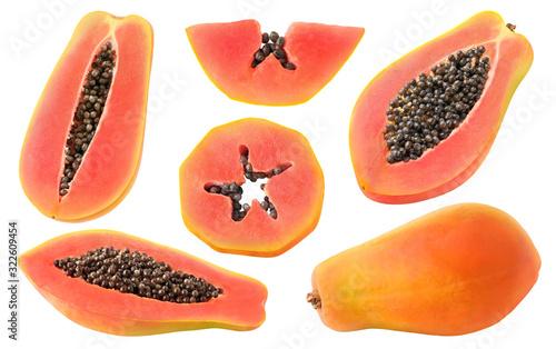 Fototapeta Isolated cut papaya