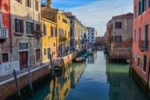 Beautiful Shot Of Canals And Colorful Buildings Of Venice, Italy